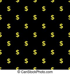 Seamless dollar sign on black background.