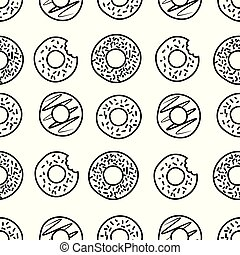 Seamless donut icons pattern on white background