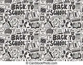 seamless doodle back to school pattern