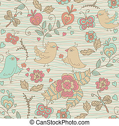 seamless doodle background with flowers and birds