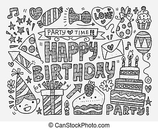 Seamless Doodle Birthday party patt