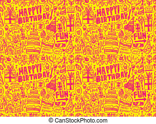 Seamless Doodle Birthday party patt