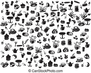 seamless doodle coffee and tea patterns for webdesign