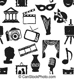seamless doodle culture pattern