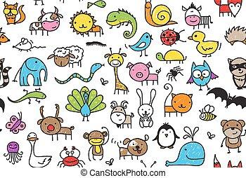 seamless, doodle, dieren, model