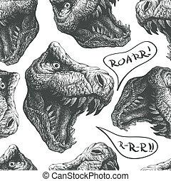 seamless doodle dinosaur pattern. eps8