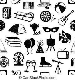 seamless doodle entertainment pattern