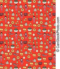 Seamless doodle happy chinese new year vector art