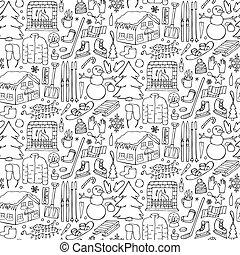 seamless, doodle, inverno, padrão
