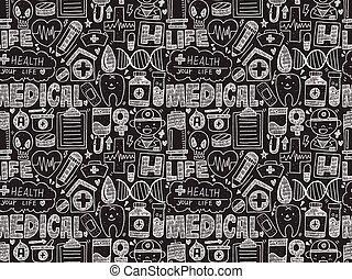 seamless, doodle, médico, padrão