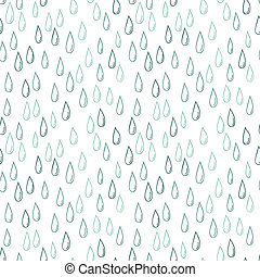 Seamless doodle pattern of raindrops