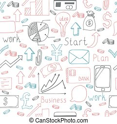 Seamless doodle pattern with business symbols