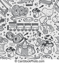 seamless doodle playground pattern