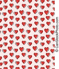 Seamless doodle red heart vector art