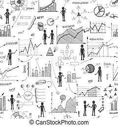 seamless, doodle, sieć, infographics, tło