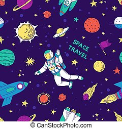 Seamless doodle space pattern. Trendy cute kids hand drawn graphic astronomy elements. Vector rocket star planet space set
