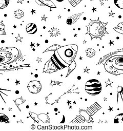 Seamless doodle space pattern. Trendy kids cosmos graphic elements, astronomy pencil sketch. Vector star planet meteor rocket set