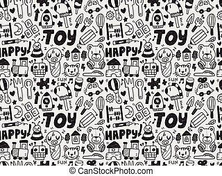 seamless, doodle, stykke legetøj, mønster