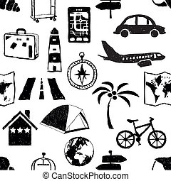 seamless doodle travel pattern