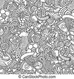 seamless, doodles, フットボール, 漫画, パターン