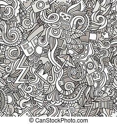 seamless, doodles, 攝影, 卡通, 圖案