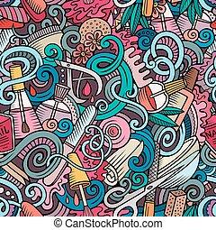 seamless, doodles, cartone animato, manicure, modello