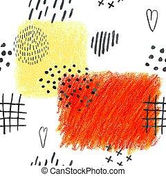 seamless, doodles, hand abstrakta, fläckar, oavgjord, ...