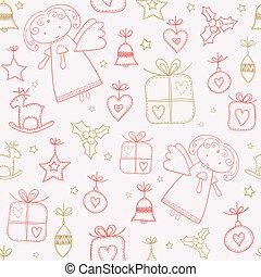 seamless, doodles, weihnachten, muster