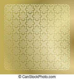 seamless, dorado, damasco, papel pintado