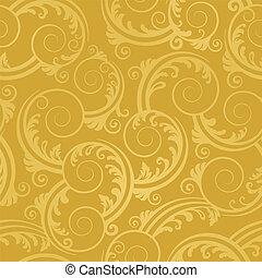 seamless, dorado, remolinos, papel pintado
