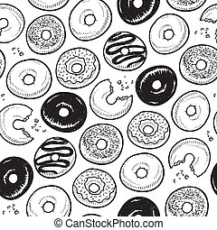 Seamless doughnut background - Doodle style frosted donuts...