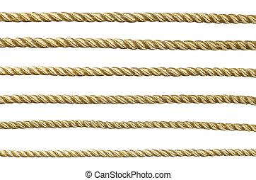 seamless, dourado, corda