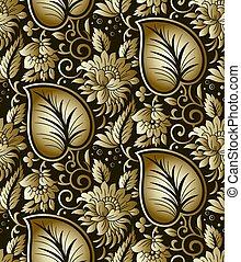 seamless, dourado, floral, fundo
