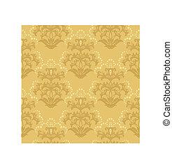 seamless, dourado, floral, papel parede