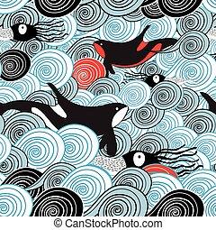 Seamless drawing of a beautiful sea wave pattern