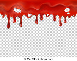 Seamless dripping blood. Halloween red bleed stain, bleeding bloody drips or jogging ketchup splash syrup marmalade or paint drip, running injury drop realistic 3D vector illustration