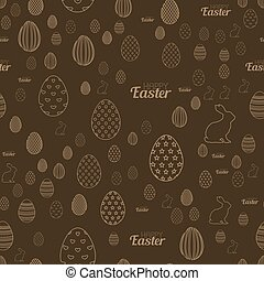 Seamless Easter pattern with chocolate background. Easter eggs. Vector.