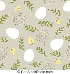 Seamless Easter pattern with floral elements and quail eggs