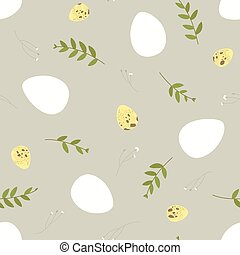 Seamless Easter pattern with floral elements, chicken and quail eggs