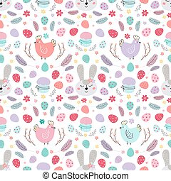 seamless Easter pattern with rabbit. Pattern with Easter bunny, chickens, eggs, cake, feathers.Vector flat illustration