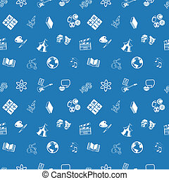 A repeating seamless education subjects background tile texture with lots of drawings of different education categories or subject topic icons