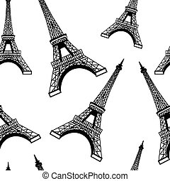 Seamless eiffel tower background pattern