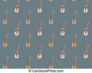 Seamless elegant pattern of hand-drawn aromatic diffusers with wooden sticks on a gray background. Golden contours. Vector.