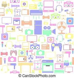 seamless, elektronisk, bakgrund, icon., mönster