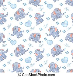 Seamless elephant kids pattern