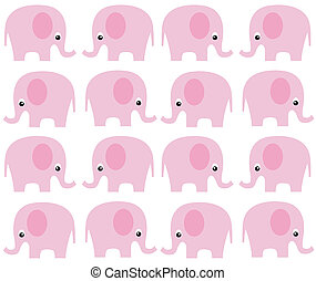 seamless elephant pattern in pink color