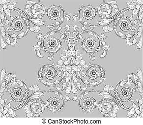 seamless, embaldosado, floral, pauta papel pintado