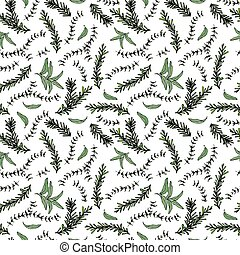 Seamless Endless Pattern of Rosemary Branch and Sage. Background with Aromatic Healing Herb. Steak Meat Spice. Hand Drawn Illustration. Savoyar Doodle Style.