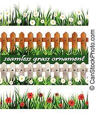seamless, erba, set, verde, grande