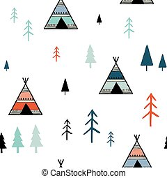 seamless, escandinavo, padrão, coloridos, geomã©´ricas